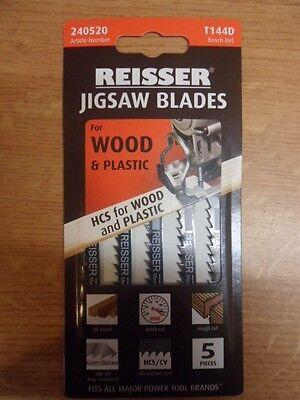 Reisser 240520 T144D Jigsaw Blades for Wood Cutting 5-Pieces