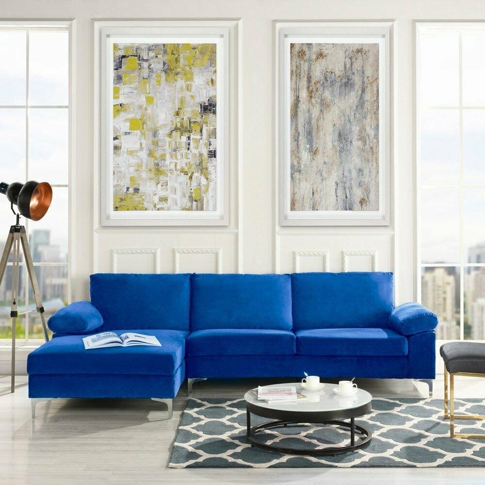 Royal Blue Sectional Couch L Shape Couch with Chaise, Silver Chrome Legs