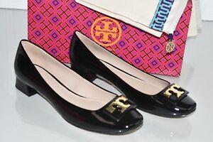 849b9af84 NEW Tory Burch GIGI Pumps Soft BLACK Patent Leather GOLD Logo Flats ...