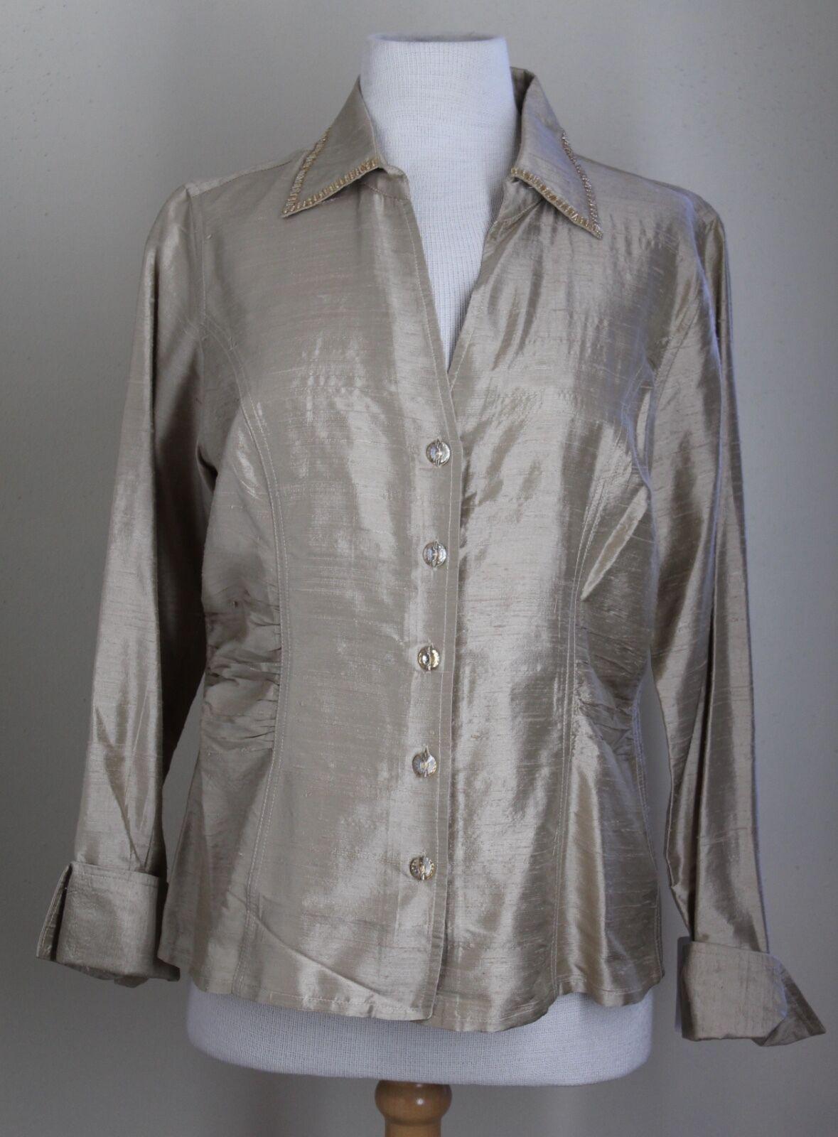 New Blau Bayou Art-to-Wear Gold Champagne Silk Ruched Shirt Jacket Sz M