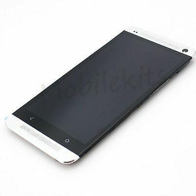 For HTC One M7 Sliver LCD Touch Screen Digitizer Assembly with Frame Replacement