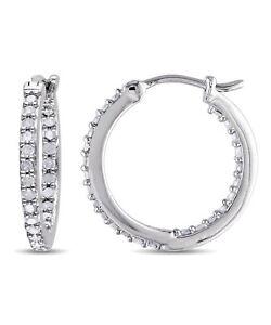 Sterling Silver 1/2ct TDW Diamond Hoop Earrings (J-K I2-I3)