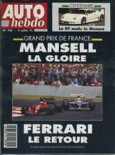 AUTO HEBDO n°786 du 9 Juillet 1991 GP FRANCE ROVER 216 GTI