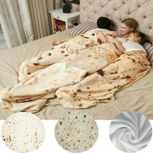 Mexican Burrito Pizza Blanket 3D Corn Tortilla Flannel Taco Blanket Funny Throw