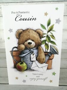 For A Fantastic Cousin, Happy Birthday Card, Cute Bear In Watering Can