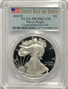 2019 S $1 Proof Silver Eagle PCGS PR70 DCAM First Day of Issue Denver