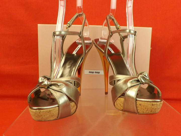 NIB ANKLE  MIU MIU PRADA GOLD LEATHER HIGH HEEL ANKLE NIB STRAP SANDALS 38.5 $650 d37ac6