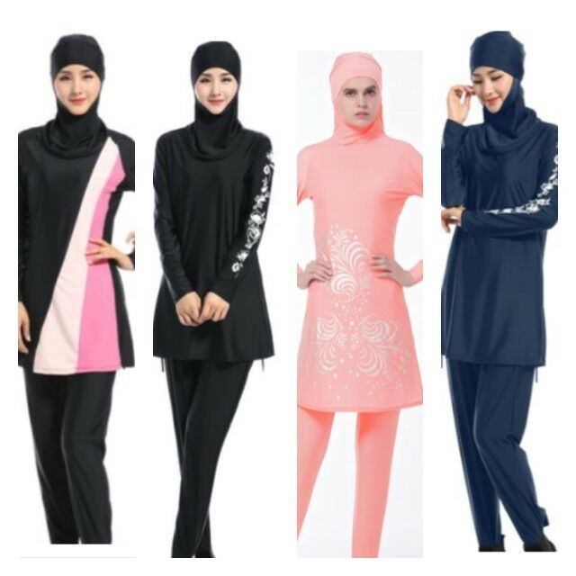 Womens Islamic Muslim Full Cover Costumes Modest Swimwear Swimming Burkini Arab