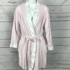 Charter Club Sz L Pink Polka Dot Wrap Robe 100% Cotton Mid Thigh Length  Belted 417c99122