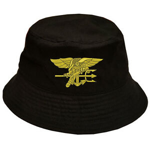 Image is loading 100-Cotton-Military-Black-Bucket-Cap-NAVYSEAL-NAVY- 126a627462d