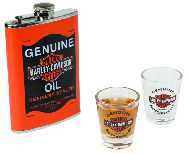 Harley Davidson Oil Can Flask Set Birthday Gift