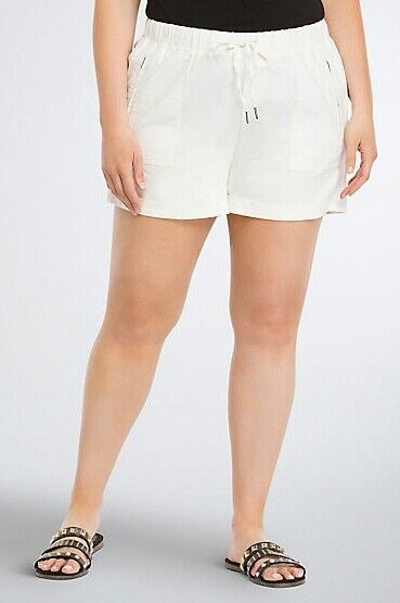 Torrid Plus Size  26W 4X Shorts White Linen Cuffed Drawstring Waist (DDD12)
