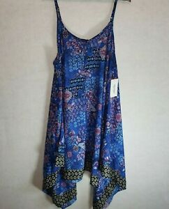 Swimsuits-for-All-Swim-Dress-Coverup-Blue-Flowy-High-Low-Spaghetti-Strap-18-20