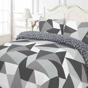 Dreamscene-Geometric-Shapes-Duvet-Cover-with-Pillowcase-Bedding-Set-Black-Grey