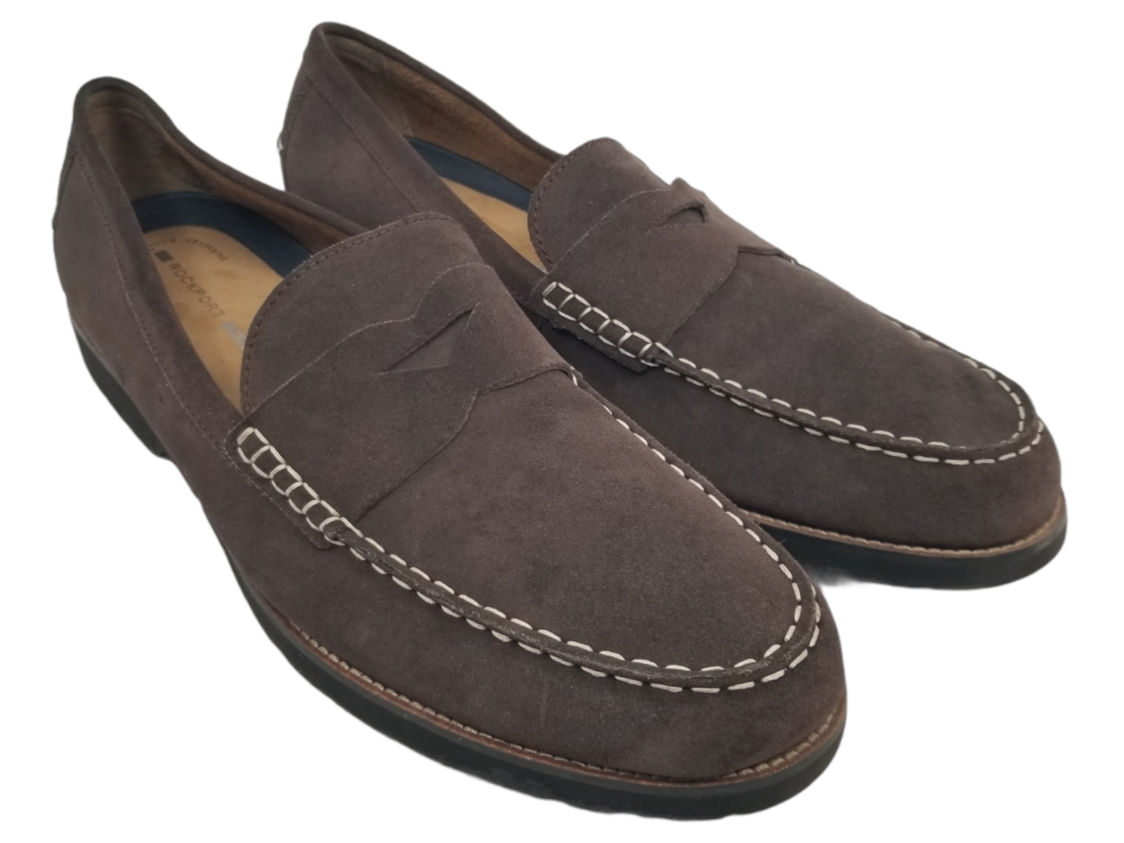 Rockport TRUTECH Mens Brown Suede Slip On Penny Loafer Shoes~Mens Sz: 16 M
