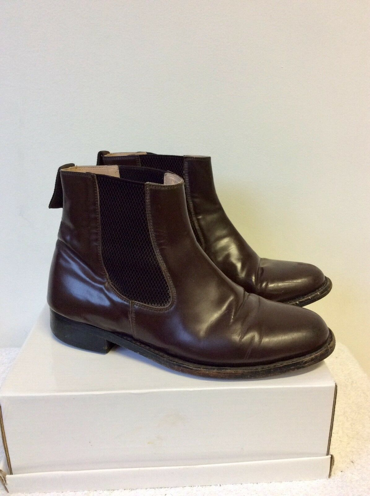 SAMUEL WINDSOR DARK BROWN HAND MADE LEATHER CHELSEA BOOTS SIZE 7.5  41