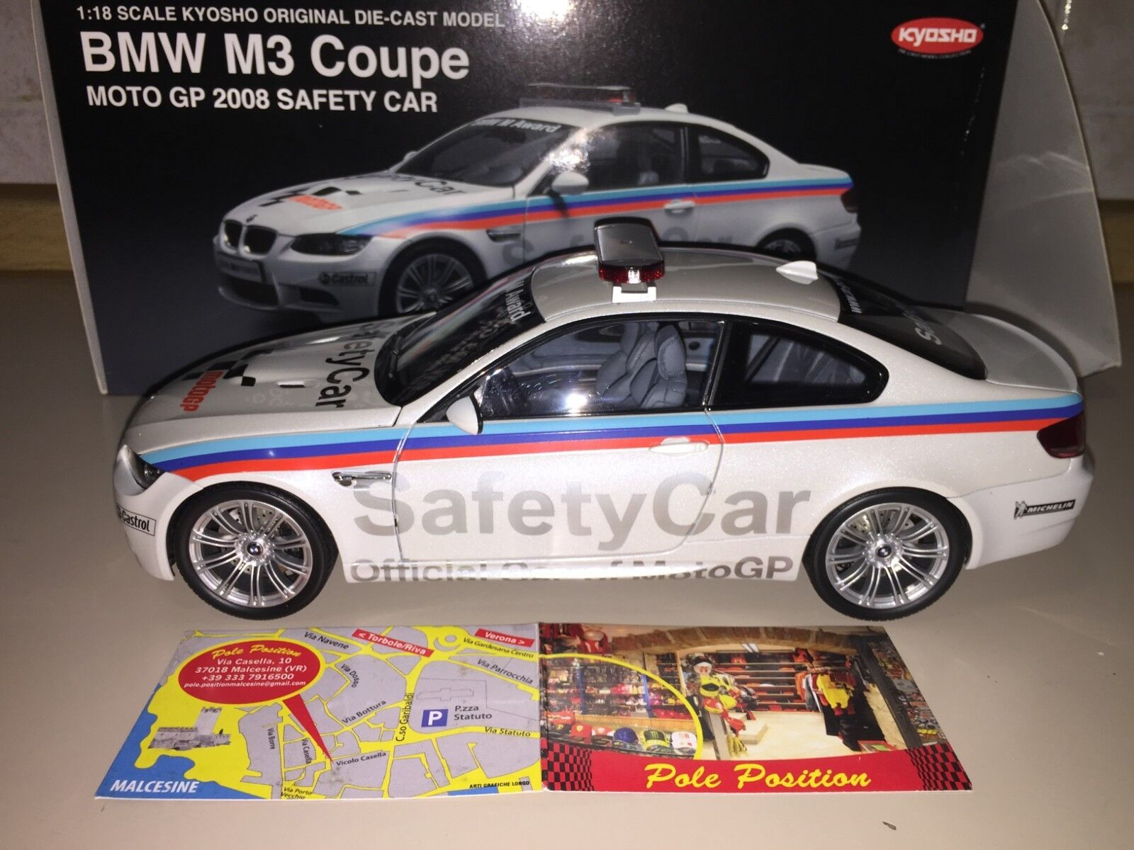 KYOSHO 1 18 BMW M3 E92 MOTOGP 2008 SAFETY CAR PEARL blanc  NEW SHIP. WORLDWIDE