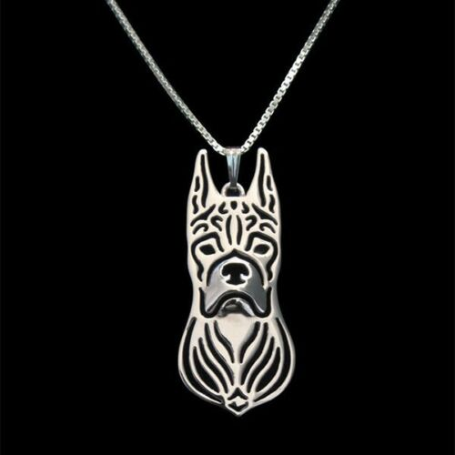 Boxer Ears Up Pendant Necklace Silver Tone ANIMAL RESCUE DONATION