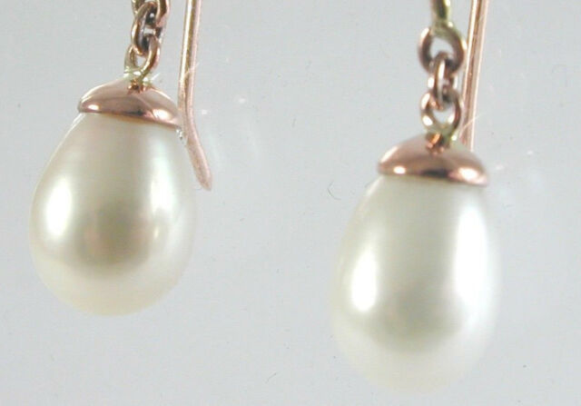 9ct Rose Gold French Hook Pearl Drop Earrings