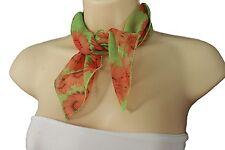 Women Mini Scarf Neck Head Cover Bright Green Fabric Orange Sunflowers Floral