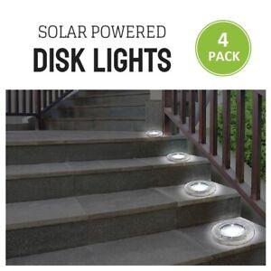 4-Pack-Disk-Lights-Solar-Powered-Moisture-proof-Shock-amp-Shatter-Proof-Ground-LED