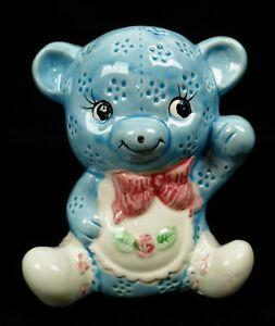 Vintage-Ceramic-Teddy-Bear-Planter-Vase-Nursery-Decor-Soft-Blue-Taiwan
