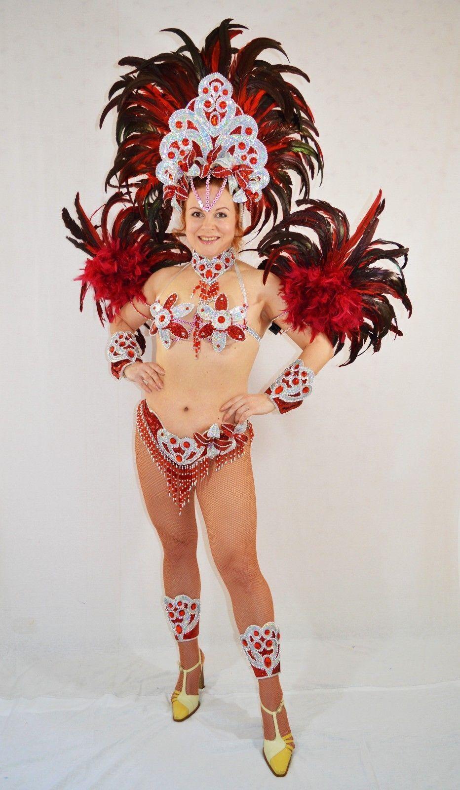 BRAZILIAN RED/SILVER SHOW GIRL SAMBA CABARET COSTUME bikini/CUSTOM MADE