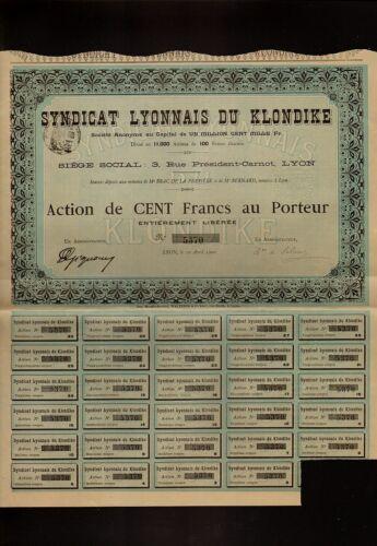 Syndicat Lyonnais du Klondike 1900 Yukon Alaska Gold Rush MINING