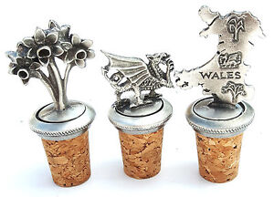 Welsh Set Of 3 Handcrafted From English Pewter Bottle Stoppers + Gift Bag