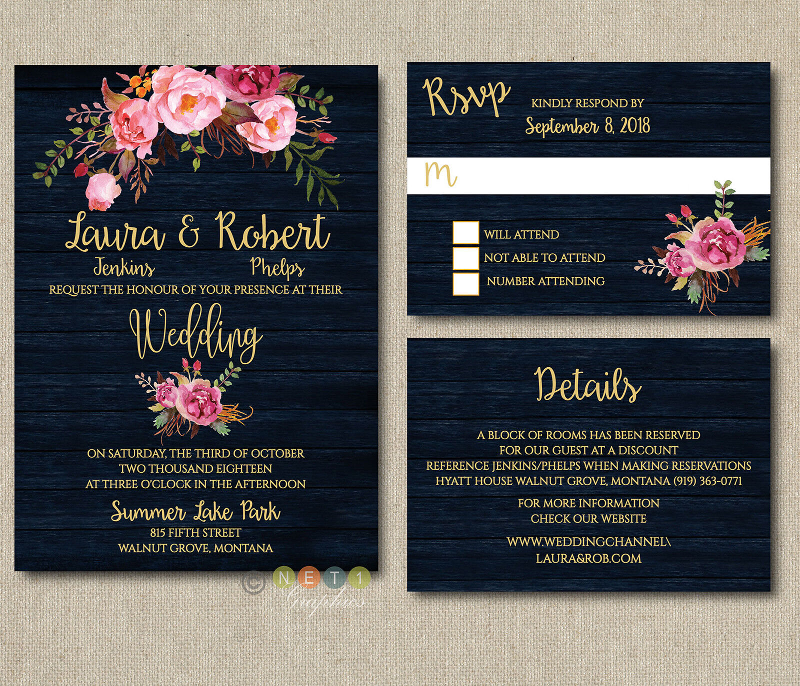 100 Personalized Navy Blau Floral Wedding Invitation Suite With Envelopes