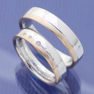 Details about Trauringe Hochzeitsringe 585 Weissgold und Rotgold mit ...