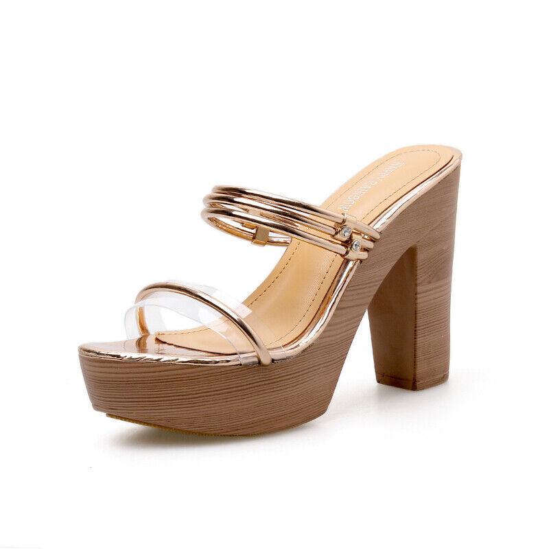 Eleganti sandali sabot quadrato beige or 11.5 cm eleganti pelle sintetica 1120