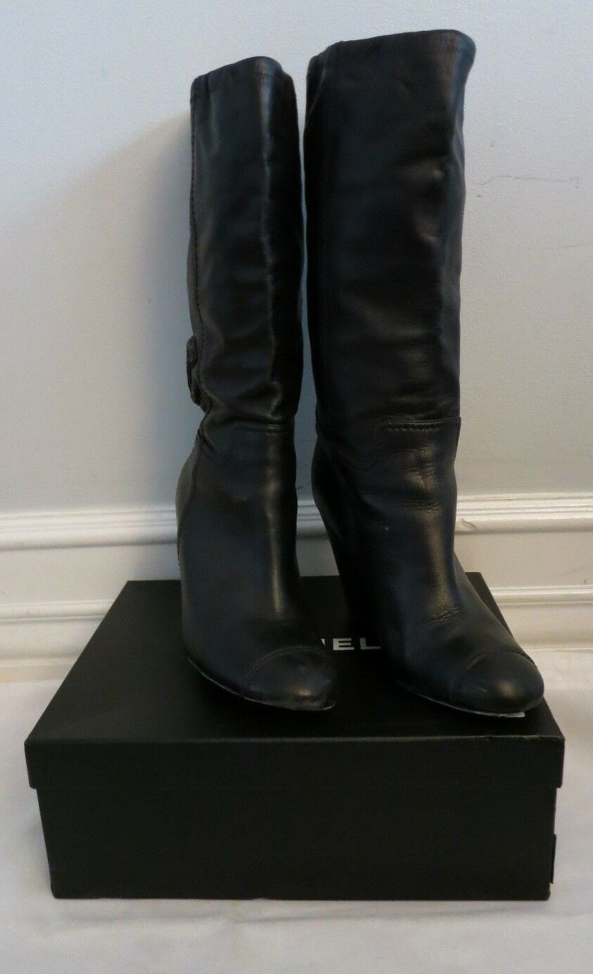 CHANEL  black leather wedge boot with beaded cc size 39 us 9