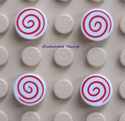 LEGO Round 1 x 1 with Spiral Red Pattern White Tile