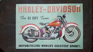 HARLEY-DAVIDSON-Placa-metalica-litografiada-anuncio-publicidad-44x30-cm-replica