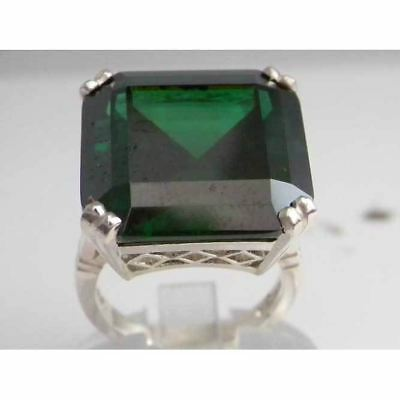 Solid Sterling Silver Huge Heavy Square Octagon cut Synthetic Emerald Ring