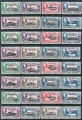 Falkland 2L1-2L8, 3L1-3L8, 4L1-4L8, 5L1-5L8, MNH, 1944, Whale Jawbones. x11980