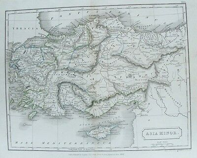 OLD ANTIQUE MAP ASIA MINOR CYPRUS GREEK ISLANDS c1829 by S HALL 19th C ENGRAVING
