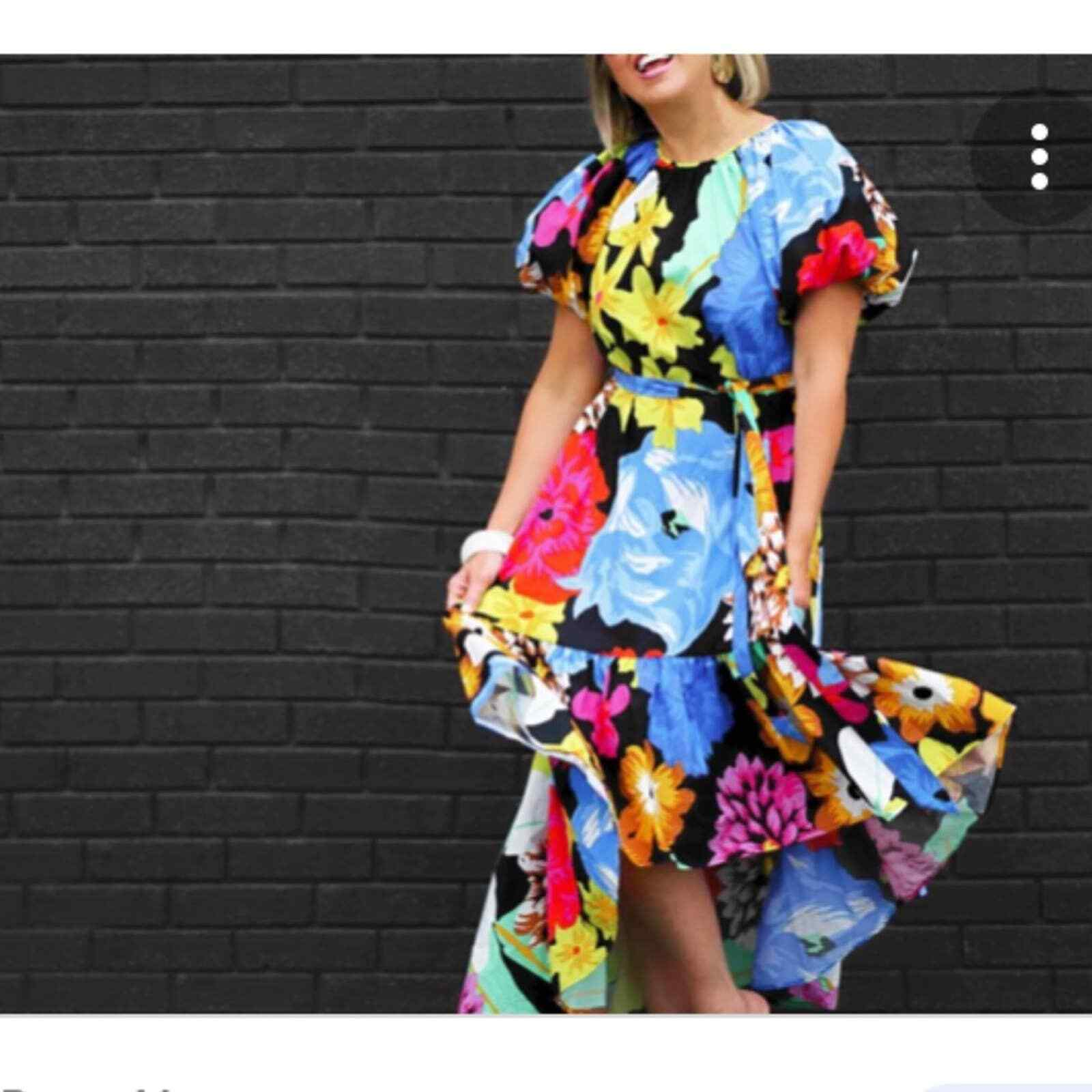 Christopher John Rogers Floral Puff Sleeves Dress - image 2