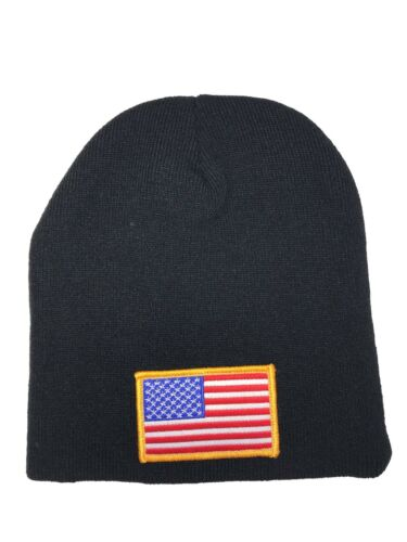 Embroidered Red White Blue Gold American US USA Flag Stocking Cap Beanie Knit