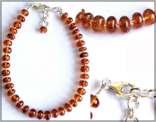 """7-8/"""" Solide Argent 925 Bracelet naturel essonite Grenat Perles Washer #625"""