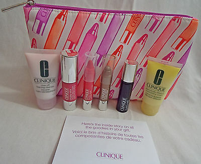 Clinique 7 Piece Set Cleanser, Mascara, Chubby Stick, Moisturizer Cosmetic Bag