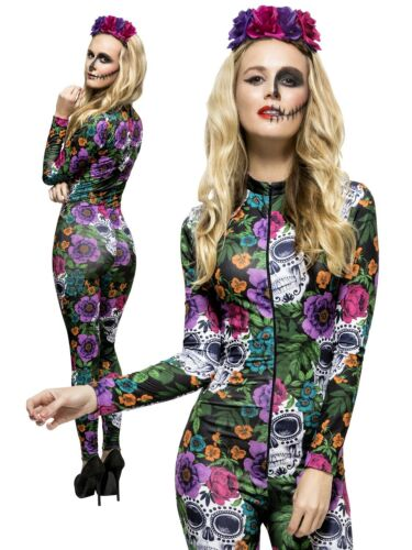 Day of the Dead Costume Catsuit Sugar Skull Ladies Halloween Fancy Dress S-L