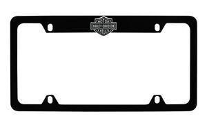 Harley-Davidso<wbr/>n Flat Matte Black License Plate Frame Holder With 3D Bar &amp; Shield