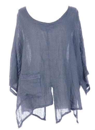 Denim Taglio SLASH Lagenlook ECCENTRICO Biancheria Pocket Top Layer Boho una taglia 12-22