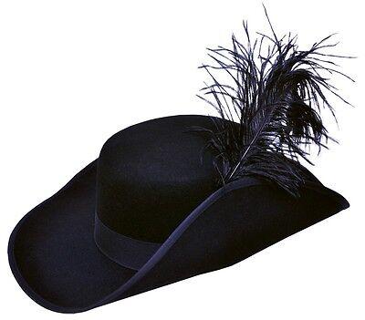 Cavalier Hat Black Pirate Musketeer Costume Buccaneer Swashbuckler Plume Men