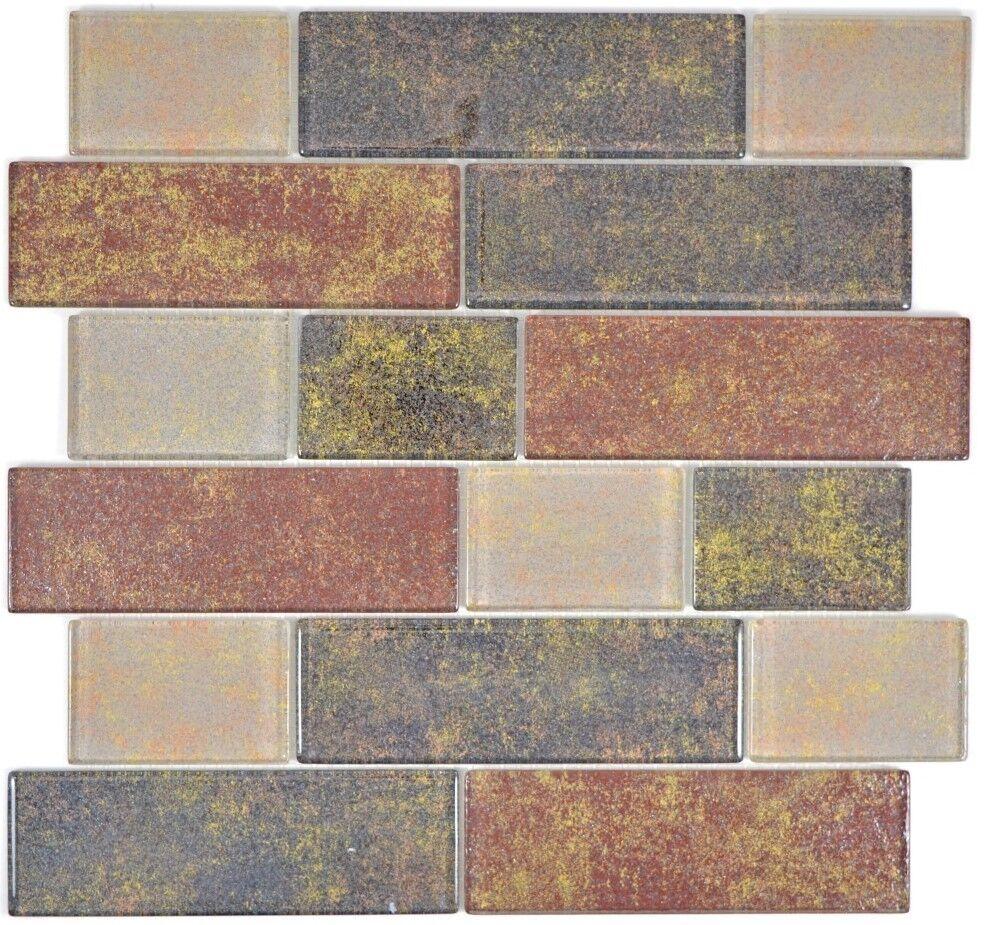 Mosaik Fliese Transluzent braun rost Mauerverbund Bianco  68-1379L_f   10 Matten