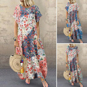 ZANZEA Womens Short Sleeve Casual Loose Floral Printed Dress Long Maxi Sundress
