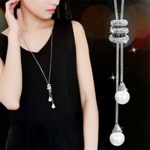 Elegant-Women-Plated-Alloy-Tassel-Pendant-Rhinestone-Long-Chain-Sweater-Necklace