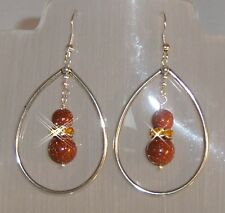 ♥ Dream-Pearls Ohrringe mit Goldfluss und Strass braun glitzer silber ♥ OH077